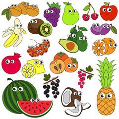 Big summer fruit set colorful.