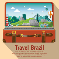 Travel the world by plane. Travel and Famous Landmarks. Brazil. Travel around brazil . open suitcase go to brazil