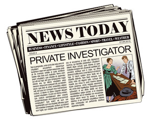 Private detective and girl in newspaper.