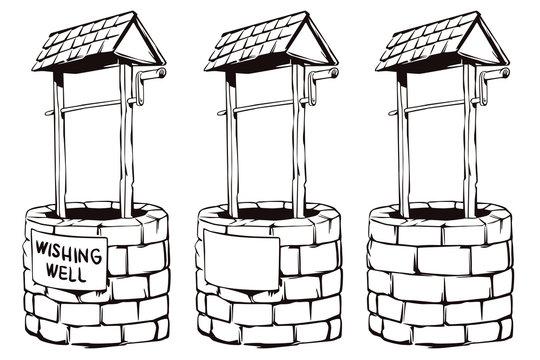 Stock illustration. cartoon wishing well