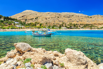 Fishing boat in Lindos Bay, Rhodes