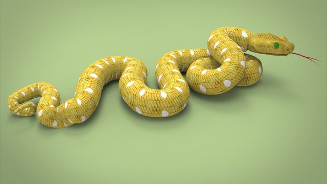 3d illustration of yellow snake. green background isolated. icon for game web. poisoned animal.