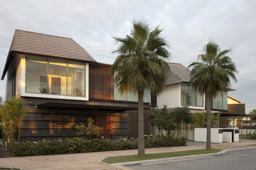 Modern residential exterior with palm trees