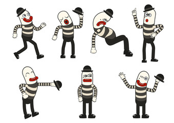 Vector mime set with different positions and gestures to express