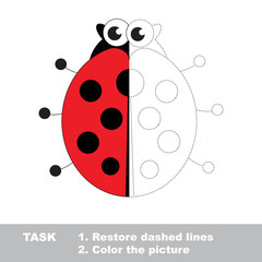 Ladybug to be colored. Vector trace game.