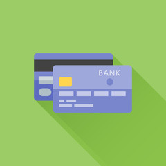 Bank credit card flat icon with long shadow on green background