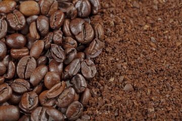 coffee beans and ground background
