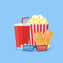 Movie poster template. Popcorn, soda takeaway, 3d cinema glasses and tickets. Cinema design in flat style, Vector illustration.