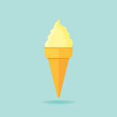 Ice cream cone flat icon. Vector illustration.