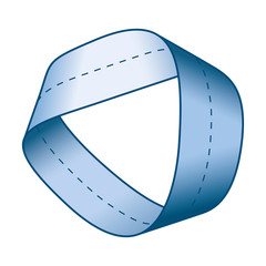 Blue Moebius strip or Moebius band with centerline. Surface with only one side and one boundary. Take a paper strip and give it a half twist, then join the strip ends to form the loop.