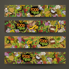 Vector hand drawn doodles food banners design templates