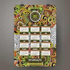 Cartoon colorful hand drawn doodles Japan food 2017 year calendar template