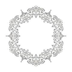 Elegant luxury vintage circle silver floral frame