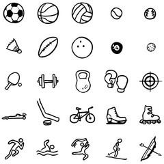 Vector Set of Black Doodle Sports Icons