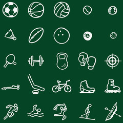 Vector Set of Chalk Doodle Sports Icons