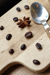 Coffee beans and dry flower cinnamon