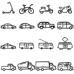 Vector Set of Black Doodle Ground Transportation Icons
