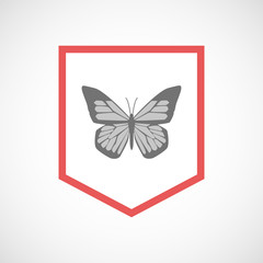 Isolated line art ribbon icon with a butterfly