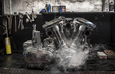 Motorbike engine in smoke