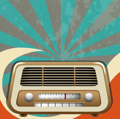 Retro design with vintage radio