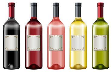 Different colors of wine bottles