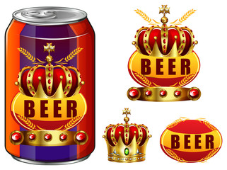Beer in can and logo design