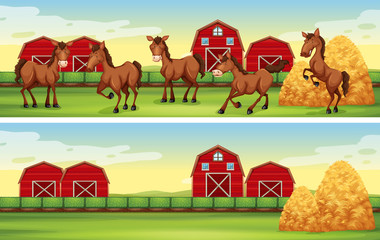 Farm scenes with horses and barns