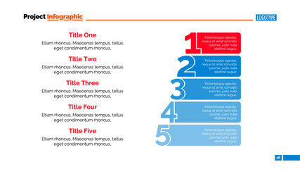 Numbers Five Points Slide Template