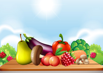 Fresh vegetables and fruits on the table