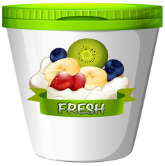 Cup of yoghurt with fresh fruits