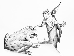 Cartoon hand drawn in pencil. The Prince and the frog.