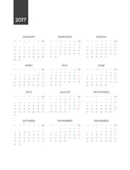 Bright Modern white vertical Calendar for 2017. Week Starts Monday