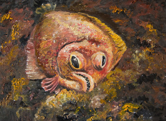 Flounder is lying on the seabed waiting for prey. Painting