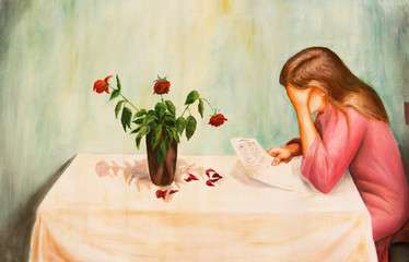 Lonely sad woman reading a letter. Oil painting