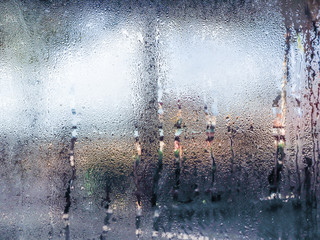 Obraz Water drops from home condensation on a window - fototapety do salonu