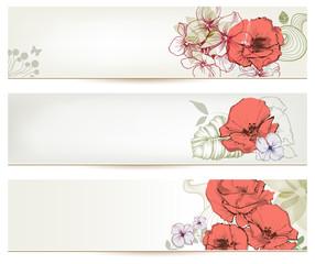 Fototapete - Floral headers. Cute flowers banner set