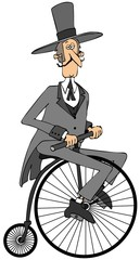 Gentleman riding an old fashioned bicycle