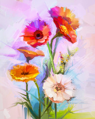 Abstract oil painting of spring flowers. Still life of yellow and red gerbera flower. Colorful Bouquet flowers with light purple, blue color background. Hand Painted floral modern Impressionist style