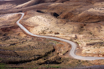 Desert road Martian like landscape of Santo Antao, Cape Verde