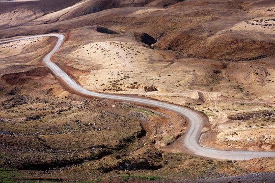 Desert road Martian like landscape of Santo Antao, Cape Verde