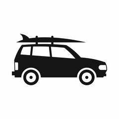Car with luggage icon in simple style isolated on white background. Trip symbol