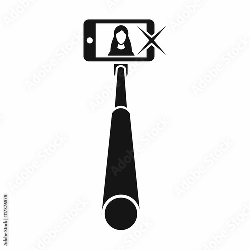 selfie stick with mobile phone icon in simple style isolated on white b. Black Bedroom Furniture Sets. Home Design Ideas