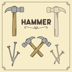 Vector set of hammer and nails. Isolated hammer in different versions.