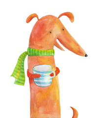 Dog dachshund in scarf with a striped cup. Watercolor illustration