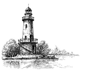 Lighthouse pencil drawing. Etch style