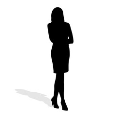 Business woman standing. Isolated vector silhouette. Teacher, ma