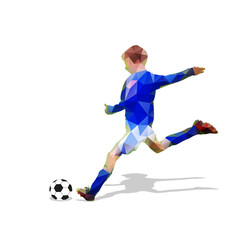 Abstract soccer player. Kicking ball. Polygonal soccer player, g