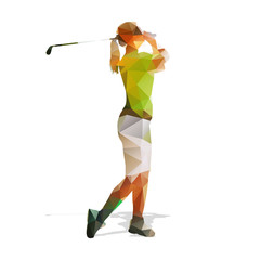 Abstract geometric golf player. Polygonal golfer silhouette. Wom