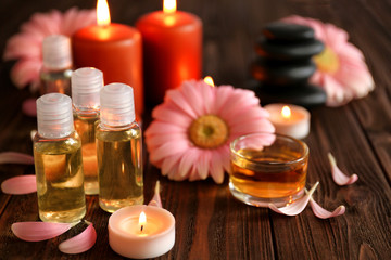 Composition of spa treatments and gerbera flowers