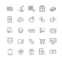 Shopping icons. E-commerce set.